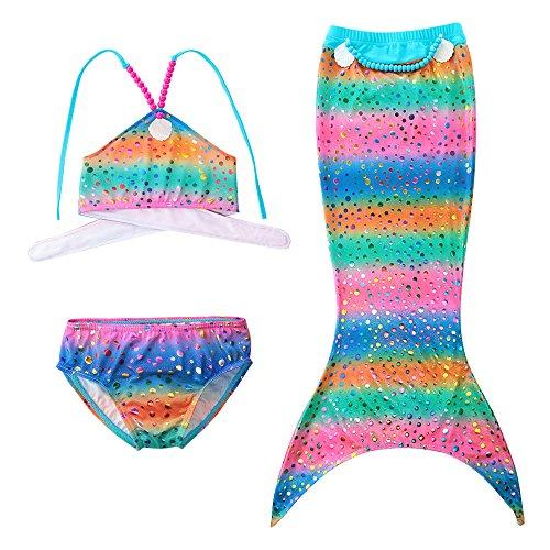 Little Kids In Suits (Little Girls 3 Pcs Princess Mermaid Tail Swimmable Mermaid Bathing Suits Swimsuit Bikini Set Blue Shell 100)