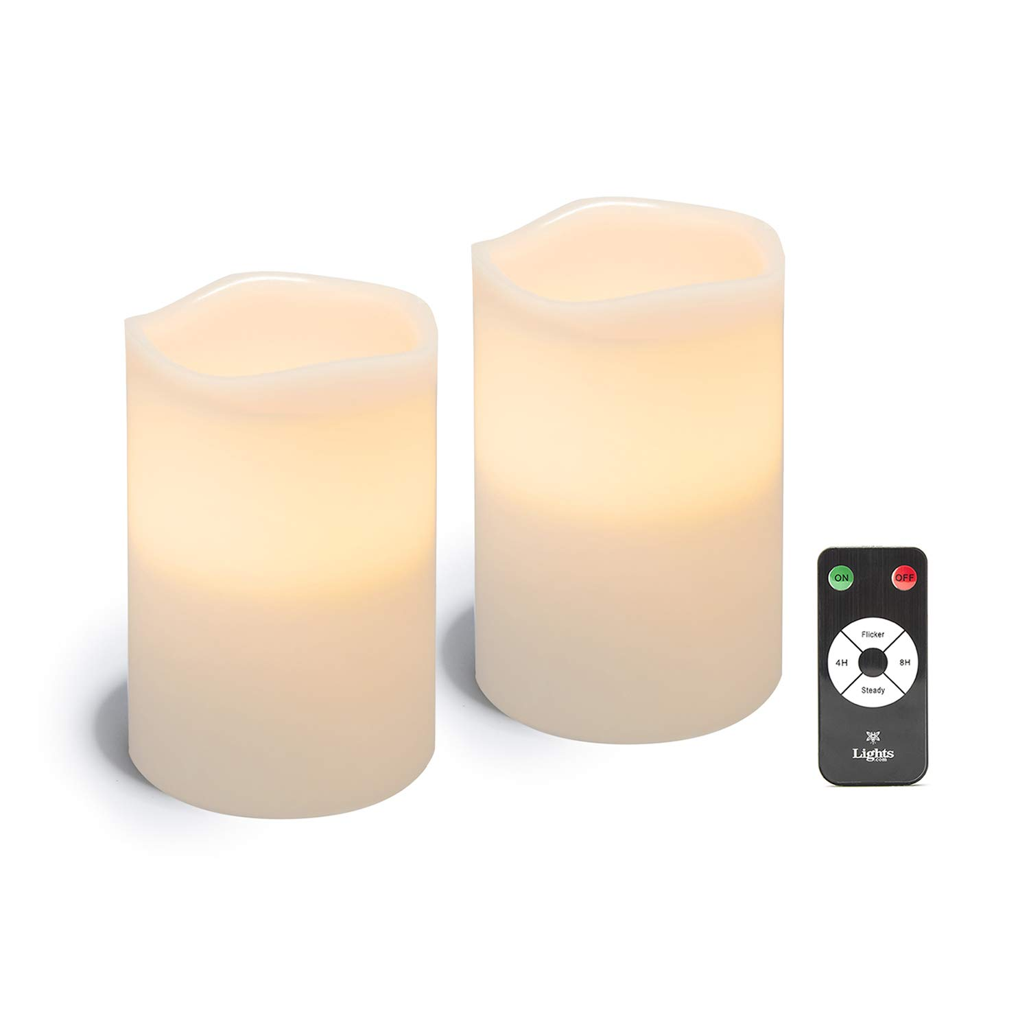 White LED Flameless Pillar Candles, 2 Pack, 4'' x 6'' Wax Candle Set, Melted Edge, Warm Natural Light - Batteries Included