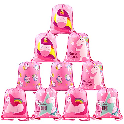 BeeGreen Unicorn-Party-Favor-Bags-Drawstring Bulk 10 Pack Unicorn Goodie Bags for Kids Girls Boys, Drawstring Bag Designs Adorable