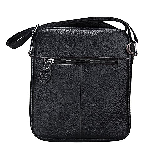 Shoulder Leather Satchel Men's Crossbody Messenger Small Bags Bag Black Hibate t7w0qO5O