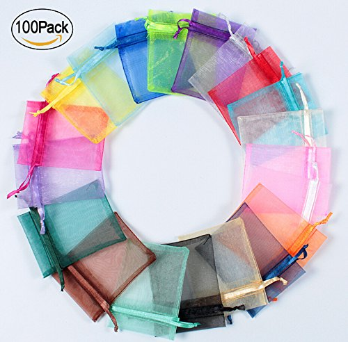 Mesh Beads Necklace (Organza Bags, Jewelry Pouch Candy Bags 100 Pcs Mixed Color Organza Satin Drawstring Mini Party Wedding Favor Gift Bags 4''x6''(10x15cm))