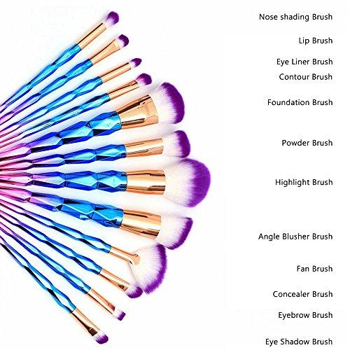 16PCS Makeup Brushes Set, MYSWEETY 12PCS Makeup Foundation Eyebrow Eyeliner Cosmetic Brushes + 2pcs Silicone Makeup Sponge + 1pc Makeup Wash Egg + 1pc Makeup Brush Bag