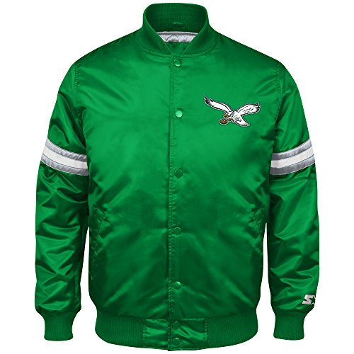 Philadelphia Eagles Nfl Starter (NFL Philadelphia Eagles Men's Retro Satin Full Snap Jacket, Medium, Kelly)