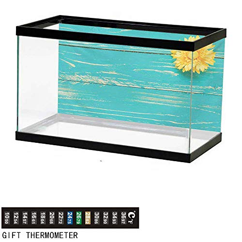 wwwhsl Aquarium Background,Rustic,Flower on Vintage Wooden Backplane Floral Beauty Redolence Springtime Nature,Turqouise Yellow Fish Tank Backdrop 36
