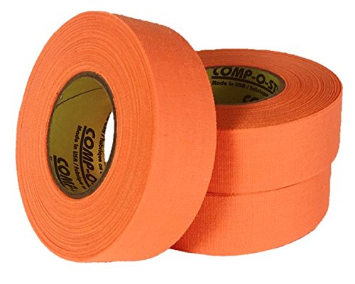 3 Rolls of Comp-O-Stik NEON ORANGE Hockey Lacrosse Bat Cloth Stick Tape ATHLETIC TAPE (3 Pack) Made In The U.S.A. 1'' X 60' by Comp-O-Stik