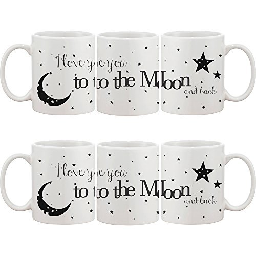 on and Back Couple Mugs - His and Hers Matching Coffee Mug Cup Set - Perfect Wedding, Engagement, Anniversary, and Valentines Day Gift for Newlyweds ()