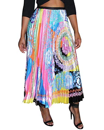 Women's Graffiti Pleated Skirts Paisley Floral Print Elastic Waist Long Swing Vintage A-Line Maxi Skirt Floral #1 S