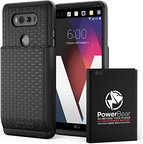 PowerBear LG V20 Extended Battery [6600mAh] & Back Cover & Protective Case (Up to 2.2X Extra Battery Power) - Black [24 Month Warranty & Screen Protector (Battery Back Cover Case)
