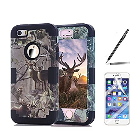 iPhone SE Camo Case, Harsel Deer Camouflage Design Dual Layer Hybrid Protective Case Shrock Resistant Case Drop Protection Silicone Hard Cover for Apple iPhone 5s / SE (Deer - Camo Cell Phone Cover