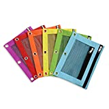 Blue Summit Supplies Pencil Pouches, Bulk Pencil Pouch 6 Pack in Assorted Colors for Storing School Supplies, Writing Utensils, and More, Cloth Zipper Pouches for 3 Ring Binders, 6 Count