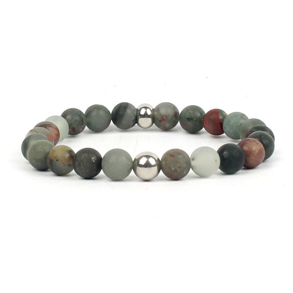Shinus Bracelet Mens Women Chakra Handmade Gemstone Fashion Healing Power Jewelry Bloodstone Popular