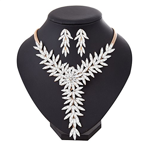 Miraculous Garden Womens Gold Plated White Crystal Marquise Zirconia Statement Choker Necklace or Jewelry Set for Wedding Party (Jewelry Set) (Crystal Wedding Choker Necklace compare prices)
