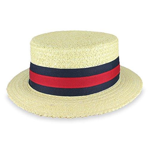 Belfry Gondola - Traditional Straw Boater Skimmer Hat (X-Large, Bleach) (Roaring Twenties Mens Fashion)