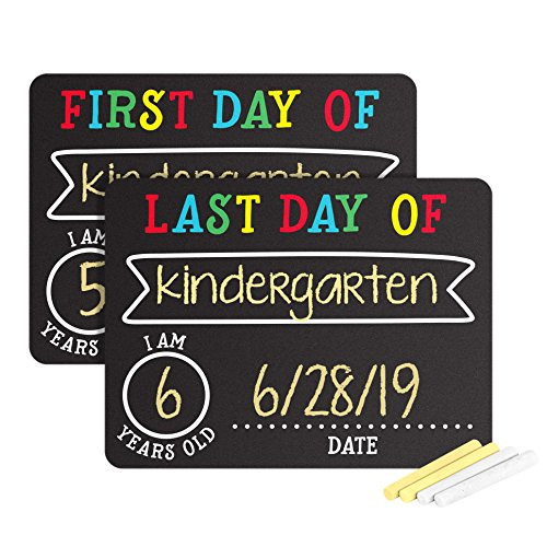 Pearhead First and Last Day of School Photo Sharing Chalkboard Signs; The Perfect Back to School Chalkboard Sign to Commemorate The First Day of School -