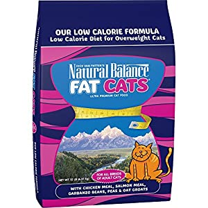Natural Balance Fat Cats Chicken Meal, Salmon Meal, Garbanzo Beans, Peas & Oat Groats Dry Cat Food, 15 Pounds 120