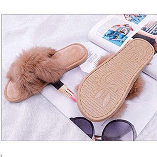 Las Cruz Mano Nuevo Piel de Marrón Hechas a casa Conejo Resorte Sandalias Mujeres Zapatillas de corredera de con Felpa 5TgtRn0