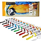 Mont Marte Acrylic Paint Set 12 Piece, Lightfast Colors with High Gloss Finish