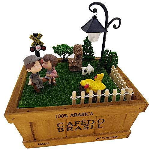 Evniset Miniature Fairy Ornament, 7.55 in Wood Planter Succulent Container Box with 14 pcs Miniature Garden Dollhouse DIY Kit