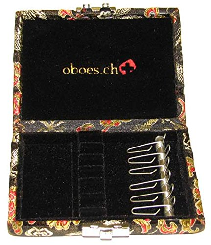 6-Reed Oboe Reed Case Silk with clips (Black/Gold)