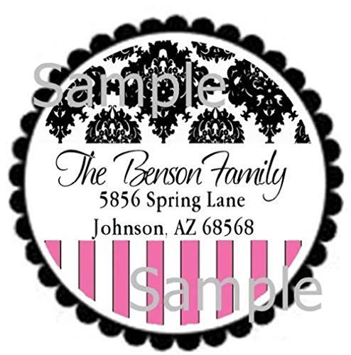 tkniftylabel Glossy Black Paisley & Pink Stripes Laser Round Return Address Labels (Label Big Address Stripes)