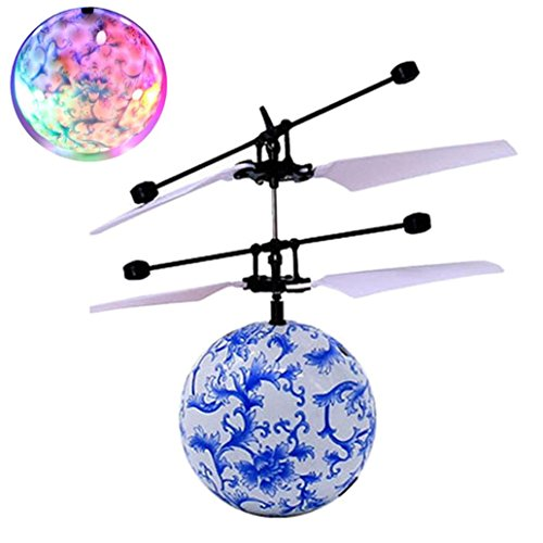 Leegor RC Toy Epoch Air RC Flying Ball, RC Drone Helicopter Ball Built-in Shining LED Lighting for Kids Teenagers Colorful Flyings for Kids Toy Christmas Gift (Blue) Family Christmas Ideas Instead Of Gifts