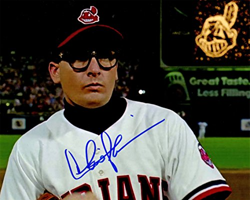 Charlie Sheen Signed Indians 'Major League' Wild Thing Wearing Glasses Close Up 8x10 Photo]()