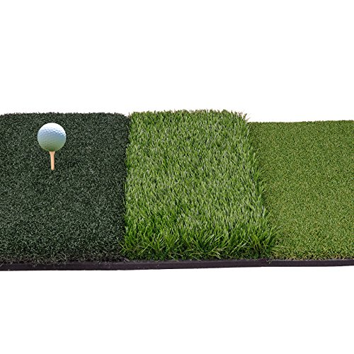 Nova Microdermabrasion Tri-Turf Golf Hitting Grass Mat Portable Golf Driving Chipping Mat Realistic Fairway & Rough w/Rubber Tee Holder for Backyard Outdoor & Indoor Practice (Hitting Mat)