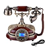 fosa Retro Vintage Antique Style Phone, Old Fashioned Telephone Desk FSK/DTMF Rotary Dial Landline Phone with Real Time & Caller ID Display for Office Home Living Room Decor, Wonderful Gift