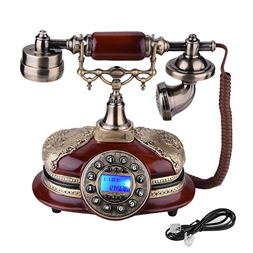 fosa Retro Vintage Antique Style Phone, Old Fashioned Telephone Desk FSK/DTMF Rotary Dial Landline Phone with Real Time & Caller ID Display for Office Home Living Room Decor, Wonderful Gift by fosa