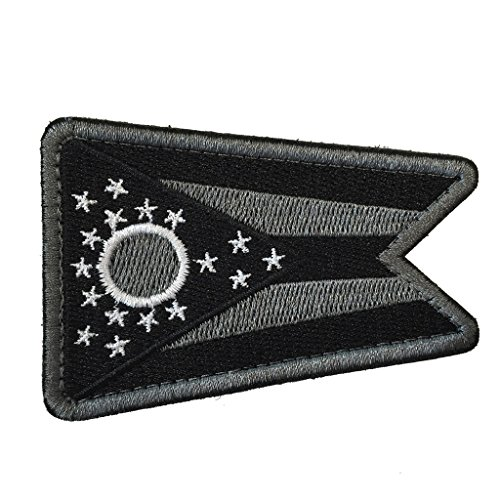 SpaceAuto Ohio State Flag Tactical Morale Patch Black Gray