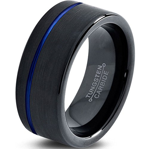 Tungsten Wedding Band Ring 4mm 6mm 8mm 10mm 12mm for Men Women Black Blue Off Set Line Pipe Cut Brushed FREE Custom Laser Engraving Lifetime Guarantee