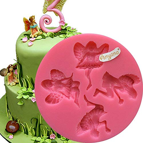 Anyana 4 Fairy Wizard Angel Angelic Cherub silicone mould gnome cake Fondant gum paste mold for Sugar paste forest cupcake decorating topper decoration sugarcraft icing pastry