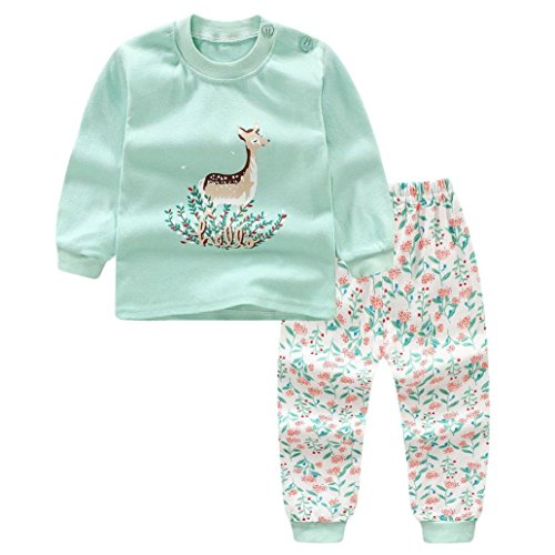 Little Boy Autumn Pajamas Sets,Jchen(TM) New Style! Newborn Infant Baby Little Boys Girls Cartoon Sika Deer Print Tops+Pants Home Wear Sleepwear Outfits for 0-3 Y (Age:0-6 Months)