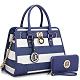 Medium Satchel 2 Pieces Purse Set Designer Handbag Top Handle Shoulder Bag Padlock (Stripe-Blue/White)