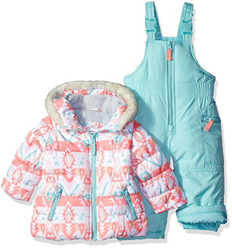 Carter's Baby Girls' 2-Piece Heavyweight Printed Snowsuit, Mint, 12M by Carter's