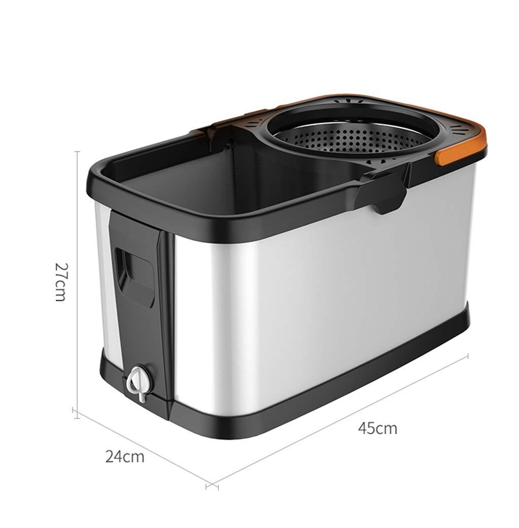 LLRDIAN Fregona con Cubo Fregona giratoria Fregona para lavarse Las Manos Fregadora automática para Lavar Las Manos Exprimidor de Agua Inoxidable Cubeta con ...