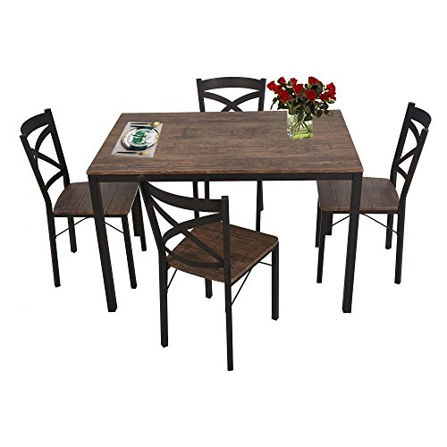 Lucky Tree 5 Piece Dining Table Set for 4 Chairs Wood and Metal Kitchen Table Modern and Sleek Dinette ()