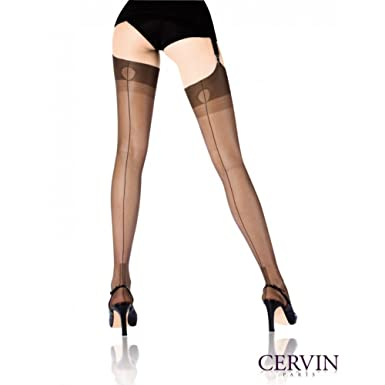 d628d9dbcca Cervin Women s Havana Cuban heel fully fashioned stockings x large  (5 7 quot -