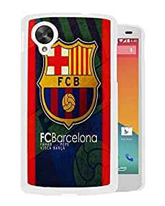 Unique Custom Designed Cover Case For Google Nexus 5 With Barcelona White Phone Case 8