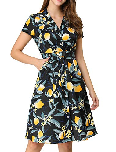 Allegra K Women's Lemon Print Buttons Down Tie Waist Dress with Pockets S Black