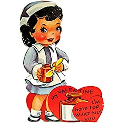 Nurse Valentine Ornament Handcrafted Wood Card Gift Colleague Gift, Nurse Magnet, Mid-Century Modern, 1950s, Husband Card, Nurse's Uniform