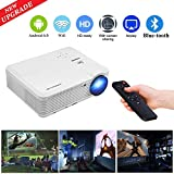 WiFi Wireless Bluetooth Projector Android 6.0 LCD LED Projector 3900 Lumen, Multimedia Home Theater Video Projector Support 1080p Full HD Speakers HDMI Cable for Phone iPhone PC VGA USB Outdoor Movie