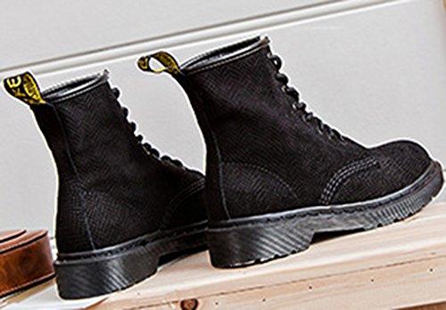 Black Women's Round Suede Martin Toe Faux Shoes Up Lace Aisun TFnxwdzqq