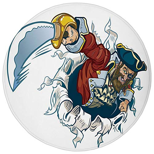 Round Rug Mat Carpet,Pirate,Cartoon Corsair Buccaneer Rips Out of Backdrop Effect Brandishing a Cutlass Image,Multicolor,Flannel Microfiber Non-Slip Soft Absorbent,for Kitchen Floor Bathroom