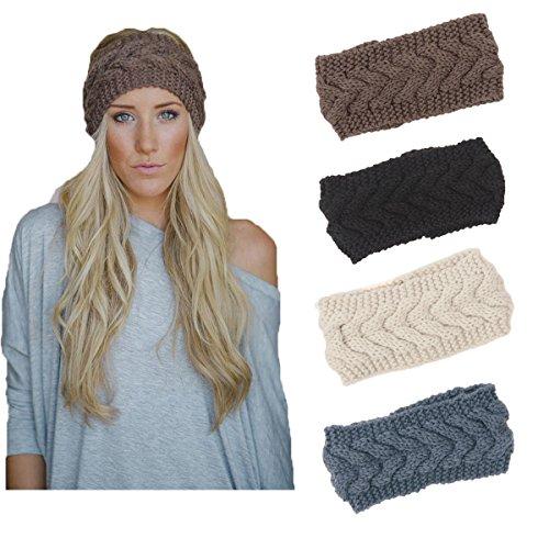 4 Pack Knit Headbands Winter Braided Headband Ear Warmer Crochet Head Wraps for Women Girls H7 (4 Color Pack G) (Band Wool)