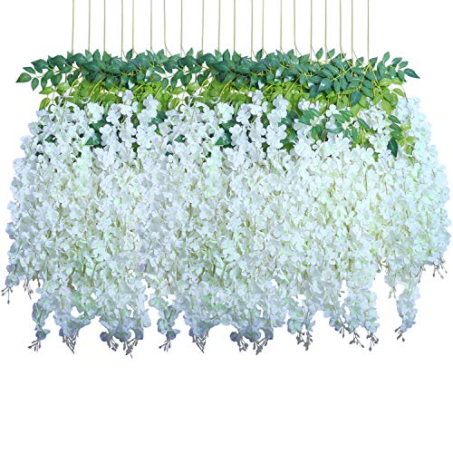 - Pauwer 24 Pack (86.6 FT) Artificial Wisteria Vine Ratta Fake Wisteria Hanging Garland Silk Long Hanging Bush Flowers String Home Party Wedding Decor (White)