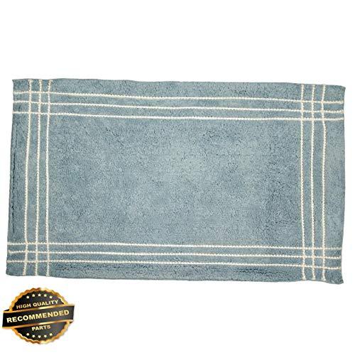 Florance Jones Brisbane Bathroom Rug, 100% Cotton Bath Mat, Blue Beige Grey Ivory, Bubble Trim | Style Mat-RG145301458