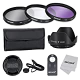 Neewer 52MM Professional Lens Filter Accessory Kit and ML-L3 IR Wireless Remote Control for NIKON D7100 D7000 D5200 D5100 D5000 D3300 D3200 D3000 D90 D80 DSLR Cameras- Kit Includes Filter Kit (UV, CPL, FLD) + Filter Carrying Pouch + Tulip Flower Lens Hood + Center Pinch Lens Cap with Cap Keeper Leash + Microfiber Cleaning Cloth + ML-L3 IR Wireless Remote Control