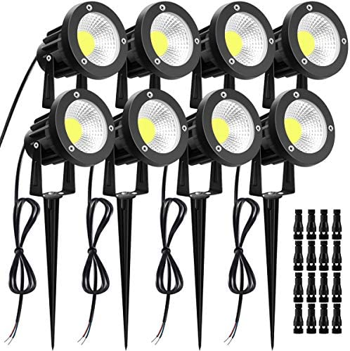 Landscape Lights LUYE 8 Pack 12W Landscape Lighting with Cable Connectors 12V Low Voltage Lights Outdoor IP66 Waterproof Garden Pathway Lighting Wall Tree Flag Flood Lights with Stakes Daylight White