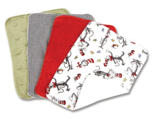 Trend Lab Dr. Seuss Cat in the Hat Burp Cloth Set, Red, (Cat In The Hat Clothing)